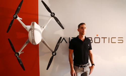 Aerial drones in use in Singapore.
